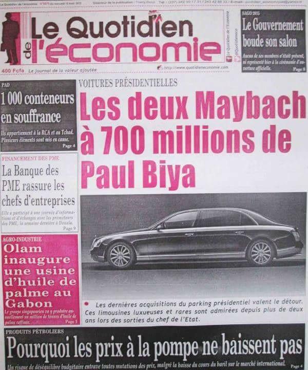 Un journal dénonce les dépenses abusives du chef de l'État camerounais.