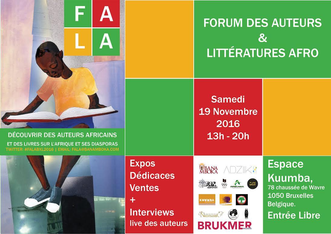 Forum des auteurs et des littératures afro, ce samedi 19 novembre à Bruxelles
